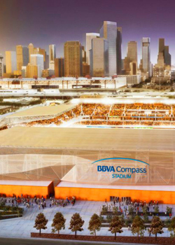 The nearly complete BBVA Compass Stadium will draw many fans in downtown Houston