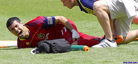 Real Salt Lake (RSL) playmarker Javier Morales down with an injury