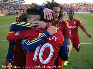 Taylor Fugate, Soccer Newsday - RSL celebrates a goal by Robbie Findley